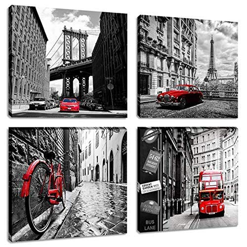 Black and White Cityscape Canvas Wall Art Prints Paintings Brooklyn Bridge Eiffel Tower London Red Bus Pictures for Living Room Decor
