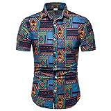 TLLW Camisa hawaiana, manga corta para hombre, casual 5XL, manga corta, estampada, de manga corta, d...