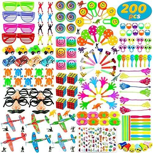 Surtido de 200 piezas de juguetes para niños, premios de carnaval y premios de aula escolar, juguetes de relleno de piñata para fiestas de cumpleaños de niños, caja de tesoro para niños y niñas