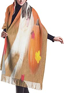 Women's Long Shawl Abstract Gold Marble Winter Warm Pashmina Scarf with Tassel