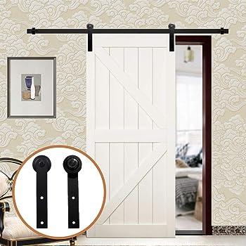 LWZH 8FT/244cm Herraje para Puerta Corredera Kit de Accesorios para Puertas Correderas,Negro I-Forma: Amazon.es: Bricolaje y herramientas