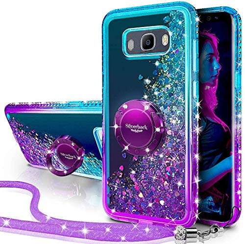 Miss Arts Funda Galaxy J3 2016,[Silverback] Carcasa Brillante Purpurina con Soporte giratorios, Transparente Cristal Bumper Telefono Fundas Case Cover para Samsung Galaxy J3 2016 -PÚRPURA