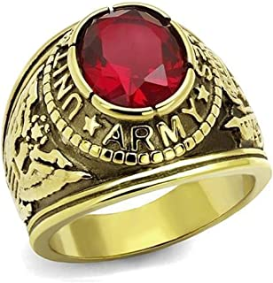 US Army Ring - (Gold Plated w/Red Stone) Military Rings Jewelry - Officers Special Forces Military