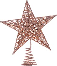 Amosfun Glittered Christmas Tree Topper Star Treetop for Christmas Tree Decoration or Home Decor (Rose Gold) 25cm