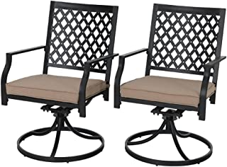 PHI VILLA Outdoor Patio Metal Swivel Dining Chairs fits Garden Backyard Chairs Furniture - Set of 2