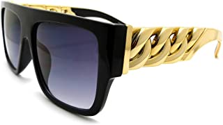 black sunglasses with gold chain