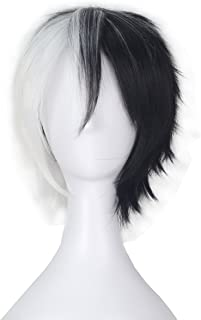 Miss U Hair Short Straight Black & White Color Hair Men Cosplay Party Wig C326