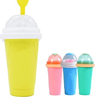 DIY Slushy Cup Maker Double Layers Smoothie Milkshake Drink Pinch Icee Cup Silicone Halloween Magic Cup Portable Squeeze I...