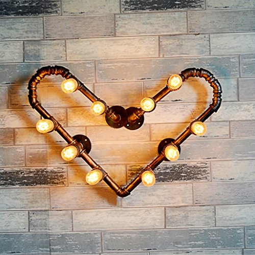 GKJ Lampe de mur Lampe de mur américaine rétro Coffee Shop Restaurant Lampe continentale Iron Heart Type Lampe de tuyau d'eau