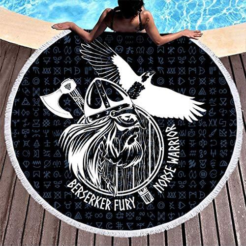 MINNOMO - Toalla de Playa Redonda de Secado rápido, con borlas, Color Negro, Estilo nórdico, diseño de Tatuaje de Berserker, Vikingo, Blanco, 150 cm