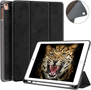 JUQITECH Trifold Smart Case 9.7 Inches with Pencil Holder for iPad Pro 9.7 iPad 2018 6th Gen 2017 5th Gen iPad Air 2/1, Auto Sleep/Wake Microfiber Lining Flexible Soft TPU Back Cover Case, Black