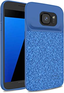 Galaxy S7 Battery Case, 4700mAh Wavypo Rechargeable Extended Charging Case Soft TPU Portable External Power Bank Protective Charger Case for Samsung Galaxy S7-Blue