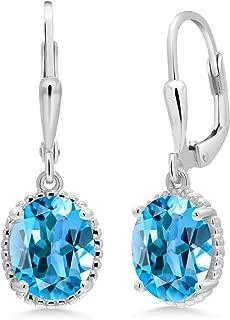 Gem Stone King 925 Sterling Silver Swiss Blue Topaz Fashion Earrings 3.60 Cttw Gemstone Birthstone Oval 9X7MM
