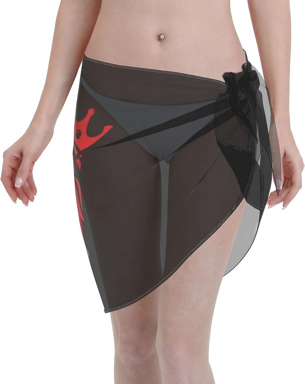 Rasta Lion Judah Women Short Sarongs Beach Wrap Sheer Bikini Wraps Chiffon Cover Ups for Swimwear Sexy Wrap Around Dress Black