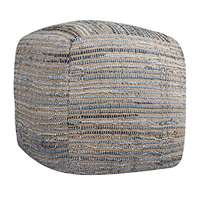 RAJRANG BRINGING RAJASTHAN TO YOU Ottoman Pouf Cube - Recycled Cotton Denim Chindi Woven Footrest Stool Indian Traditional Style Countryside Chair - Blue - 16 x 16 Inches