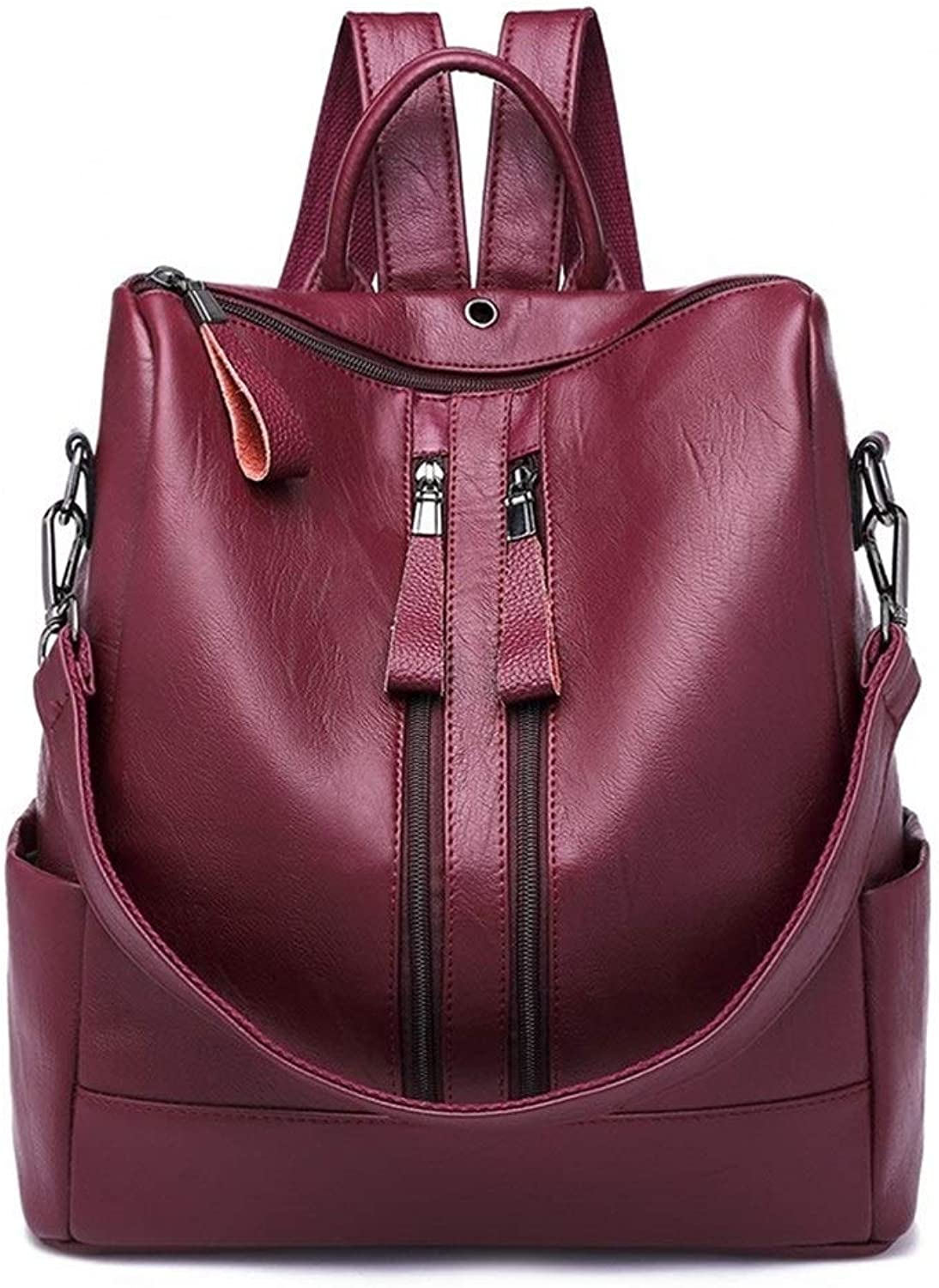 Fashion Large Capacity Ladies Backpacks Wild Casual Soft Leather Travel Women's Backpacks (color   Claret, Size   One Size)