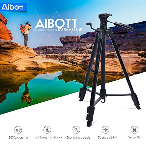 Albott 64 Inch Travel Tripod Portable Aluminium Lightweight with Carrying Bag for Cameras Video