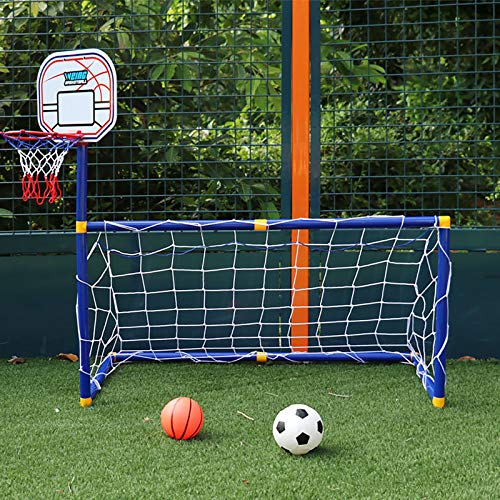DO-MF 2 en 1 Aro de Baloncesto portería de fútbol para niños,Juego de Aros de Baloncesto, con una Pelota de fútbol y una Pelota de Baloncesto, Juego Deportivo para niños