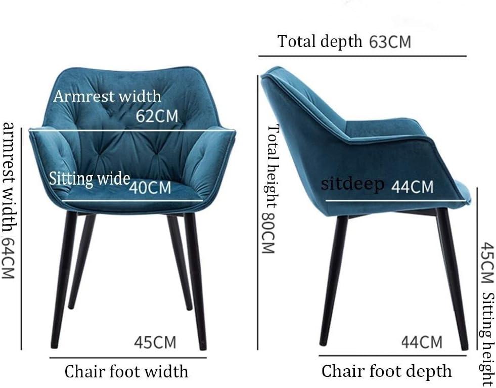 HEJINXL Manger Salle Chaise Comptoir Cuisine Salon Salle Loisirs Chaise Coin Chaise Métal Pieds Velours Accueil Chaise Avec Bras (Color : B) C