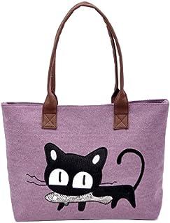 Kolylong Neue Art und Weise Frauen-Schulter-Beutel-Segeltuch-Tasche Nette Katze