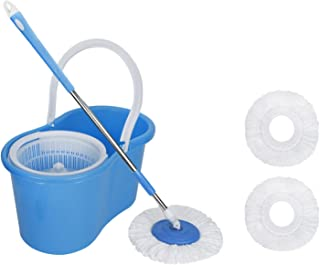 Generic Spin Bucket Mop-360 Degree Spin Bucket Rotating with 2 Refills- Super Absorbent Refills for All Type of Floors, 180 Degree Bendable Handle, for Perfect Cleaning (Assorted Color)