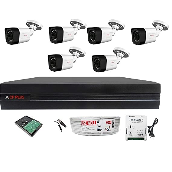 CP PLUS FULL HD 4MP CAMERAS COMBO KIT 8CH HD DVR+ 6 BULLET CAMERAS +2TB HARD DISC+ WIRE ROLL +SUPPLY & ALL REQUIRED CONNECTORS