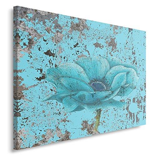 Feeby Frames, Quadro Pannelli, Pannello Singolo, Quadro su Tela, Stampa Artistica, Canvas 80x120 cm, Fiori, Natura, Azzurro, Arte, Colore, Vintage