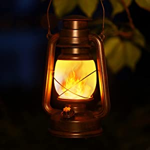 2 Pack LED Vintage Lantern Outdoor Waterproof, Outdoor Hanging Battery Operated Flickering Flame Lantern with Two Modes Decorative Lights for Home Decor Garden Patio Deck Yard Path