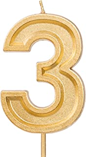 LUTER 2.76 Inches Large Birthday Candles Gold Glitter Birthday Cake Candles Number Candles Cake Topper Decoration for Wedding Party Kids Adults, Number 3