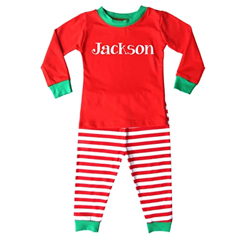 95cc4601d4 Personalized Custom Holiday Christmas Red   White Striped Pajamas for Babies