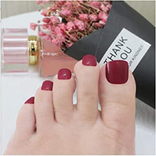 VIKSON INTERNATIONAL Set 24pcs cherry Red color nail acrylic gel tips Artificial False Toe Nails Tips for Nail Art Decorations Foot Manicure Beauty Tools Fake Nails for toe with glue