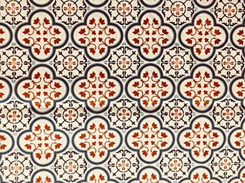 Italian Home Textile Company Tessuto per Tovaglie : Motivo Maioliche Deluxe VAR. Rosso e Blu | Prodotto Made in Italy | 100% Puro Cotone | Altezza 180 cm | Vendita al Metro (1 Metro x 1,80 m Altezza)