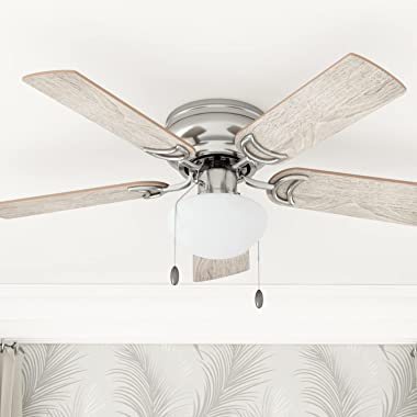 Prominence Home 80029-01 Alvina Led Globe Light Hugger/Low Profile Ceiling Fan, 42 inches, Satin Nickel