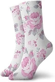 tyui7, Patrón floral transparente con rosas rosadas y hojas grises Calcetines de compresión antideslizantes Calcetines deportivos de 30 cm acogedores para hombres, mujeres, niños