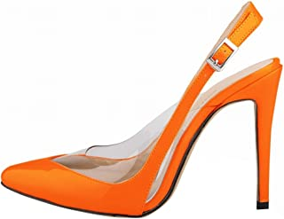 Wotefusi Women Summer Transparent Splicing Close Toe Ankle Strap Party Club Sandals Orange 11B(M) US