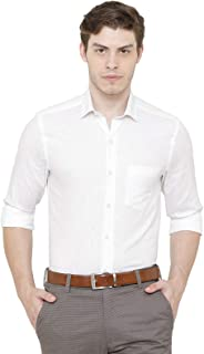 CAVALLO by Linen Club Spread Collar Regular Fit Solid Linen Formal Shirt for Men-White