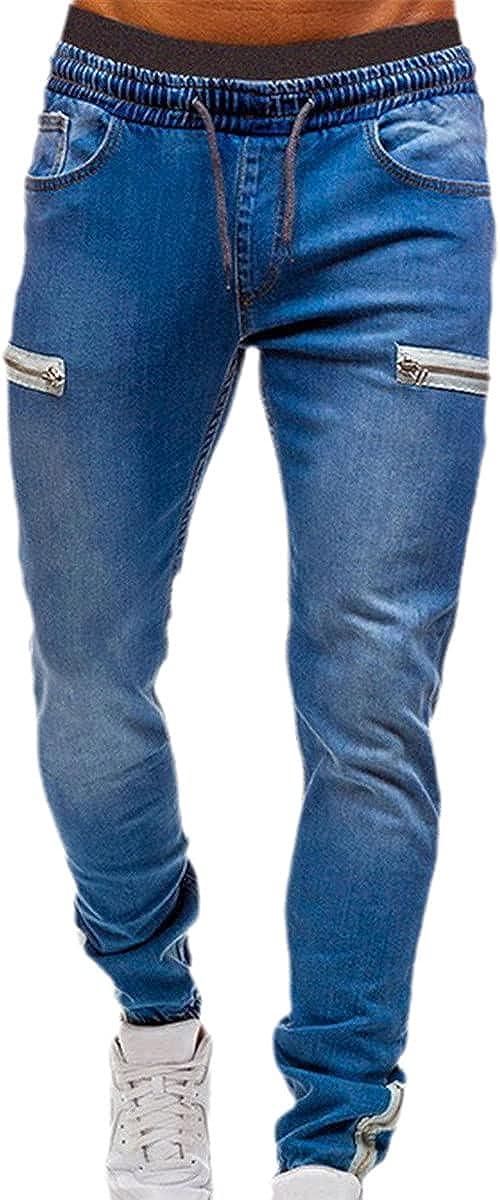 CACLSL Men's Stretch Cuffed Pants Casual Drawstring Jeans Training Jogging Sports Pants Fashion Zipper Pants