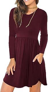 Women's Long Sleeve Fall T Shirt Dresses Casual Swing...