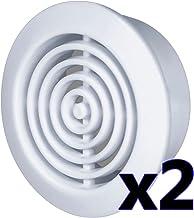 2 x ventilatierooster Ø 45 mm rond wit uitlaatrooster toevoerlucht afvoerlucht rooster ventilatie T73w
