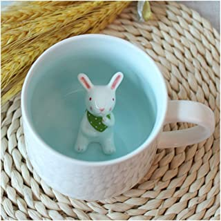 Surprise 3D Cartoon Miniature Animal Coffee Cup Mug with Baby Rabbit Inside - Best Office Cup & Christmas Gift (Rabbit)