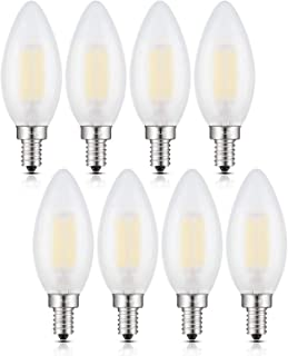CRLight 6W Dimmable LED Candelabra Bulb 4000K Daylight White, 60W Equivalent 600 Lumens, E12 Base Vintage LED Filament Light Bulbs, B11 Candle Frosted Glass Chandelier Bulbs, Pack of 8
