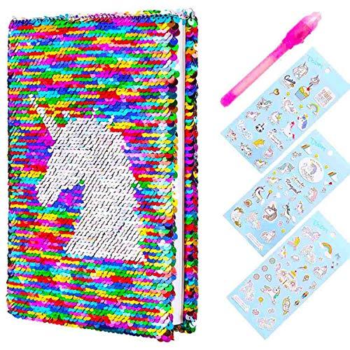 YiRAN Journal de Filles Secret Journal de Licorne à Réversibles Paillettes et Stylo Magique avec Autocollants de Licorne pour Les Filles Secret Journal privé Grands Cadeaux d'anniversaire de Noël