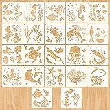 MWOOT 22 Piezas Vida Marina Plantilla de Dibujos para Niños,Plantillas de Pintura Reutilizables,DIY Plantillas para Suelos,Ventana,Muebles,Madera, Diseño de Paredes(13x13CM)