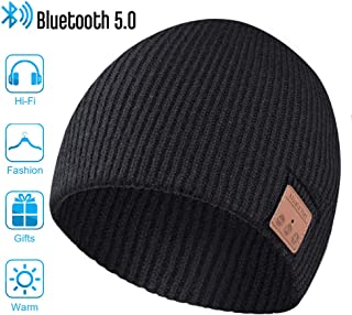 Bluetooth Hat, Bluetooth Beanie, Men's Gifts Winter Knitted Beanie Cap with Wireless 5.0 Stereo Earphone Headphone for Running Skiing, Thanksgiving Day Christmas Music Gifts for Men/Women
