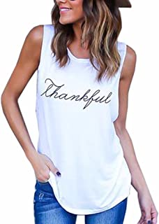 Roundeel Plus Size Summer Sexy Casual Thankful Shirts Thanksgiving Shirt Letter Print Boyfriend Tank Tops for Women