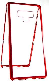 غطاء حماية مغناطيسي شفاف بحواف معدنية من الزجاج المقسى لجهاز سامسونج جالكسي نوت 9