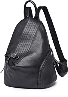 Xuan Yuan Backpack - Women's Fashion Versatile PU Leather Backpack, College Leisure Travel Multi-Function Large Capacity Bag, A4 File Computer IPad Briefcase Backpack (Color : Black)
