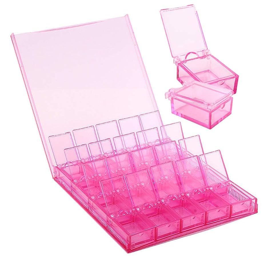 リズミカルな一般化する強要MOOJOO ネイルパーツケース 小分け クリア ケース ビーズ収納 仕切り 20セクション ピンク