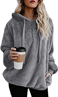 willwinWomen WillingStart Women's Pocket Velvet Zipper Hood Long-Sleeve Solid Sweatshirts
