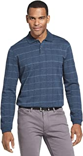 Men's Flex Classic-Fit Long Sleeve Windowpane Polo (Turquoise Seabed, Large)